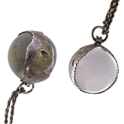 Antique Pools of Light Pendant Necklace, 26 mm Rock Crystal Orb, Sterling
