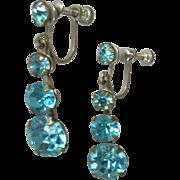 Vintage Rhinestone Earrings, Deco Drops