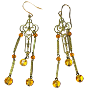 Vintage Filigree Earrings, Long drops, Art Glass