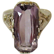 14K Filigree Ring, WG, Synthetic Amethyst, Art Nouveau
