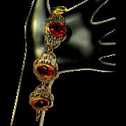 Art Nouveau Bracelet, Filigree & Art Glass