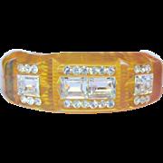 Bakelite Prystal Bracelet, Rhinestones, Carved Clamper, Deco