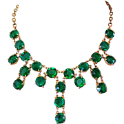 Rhinestone Festoon Necklace, Vintage Emerald Green Drops