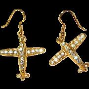 Rhinestone Airplane Earrings, Vintage