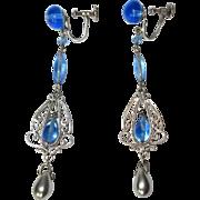 Filigree Earrings, Art Deco Sterling Drops