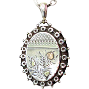 Victorian Sterling Locket, Aesthetic Movement, Tri Color Gold Applique