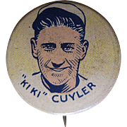Ki Ki Cuyler 1930's Cracker Jack Baseball Pinback, Chicago Cubs Button
