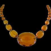 SALE Intaglio Glass Necklace, Art Deco Czech