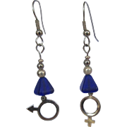 Drop Earrings, Man / Woman Symbols, Glass Beads