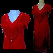 Lillie Rubin Dress, Vintage Suede Leather 1960's
