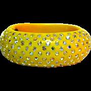 Weiss Thermoplastic Rhinestone Bracelet Art Deco Yellow