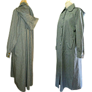 Vintage Coat, 1940's Cotton Twill with Hood