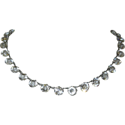 1920's Crystal Necklace, Art Deco Bezel  & Prong Set