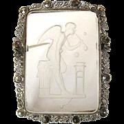 SALE Intaglio Brooch, Marcasite, Vintage Reverse Carved Pin