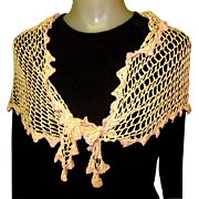 Vintage Lace Scarf / Shawl, Hand Made Silk Crotchet