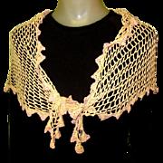 SALE Vintage Lace Scarf / Shawl, Hand Made Silk Crotchet