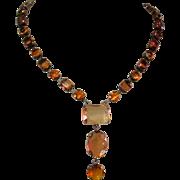 Deco Revival Necklace, Topaz Colored Stones