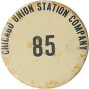 SALE 1915 Chicago Union Station Company Pin Back, Antique Button