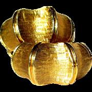 SALE 14K Gold Bamboo Earrings, Vintage 1940's Hoops