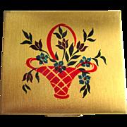 Art Deco Compact, Floral Basket, California Souvenir
