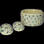 Weiss Thermoplastic Bracelet & Earrings, Rhinestone Clamper