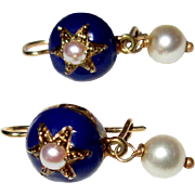 14K Antique Earrings, Enamel & Pearls, Victorian Georgian Revival