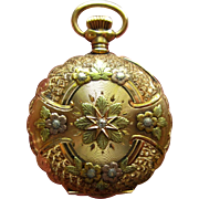 14K Pocket Watch, Antique Diamond Waltham, Tri Gold, Womens