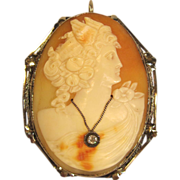 Large 14K Nike Winged Habille Cameo Brooch or Pendant