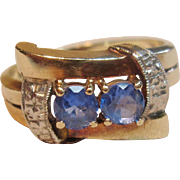 Gorgeous Vintage Blue Topaz Bypass Ring in 10K Yellow Gold