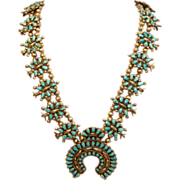 SOLD Superb Vintage Squash Blossom Necklace with the Naja Pendant