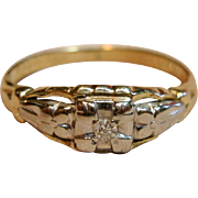 Vintage Diamond Pinky Ring in 14K Two Tone Gold
