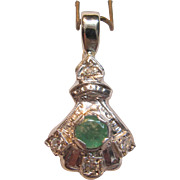 Art Deco Emerald Pendant with Diamond Accents in 14K White Gold