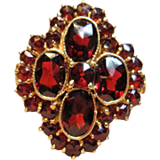 Vintage Victorian Style Garnet Ring in 10K Yellow Gold