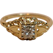 Vintage Diamond Illusion Set Ring in Yellow Gold in 14K Gold