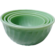 SALE PENDING Set of 4 Jade-ite Fire-King Mixing bowl by Anchor Hocking Glass Co Circa 1950's