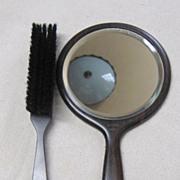 Vintage Ebony Mirror & Brush