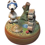 Vintage WWI English Flying Ace on the Battlefield Snoopy Music Box Circa 1968