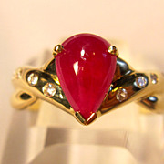 Exquisite & Flattering Natural Pear Shaped Ruby Ring in 14K Yellow Gold