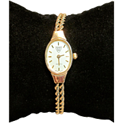 Vintage Women's Wristwatch in Solid 14K Yellow Gold by Beverly Hills Gold