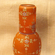 Vintage Hand blown & Hand Painted Art Glass Bedside Water Carafe With Matching Glass