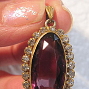 Victorian Amethyst Glass Pendant Set In Brass