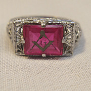 Rare Woman's Masonic Filigree Ring Circa 1910-120's in 10K White Gold