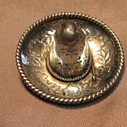 3D Sterling Silver Sombrero Brooch