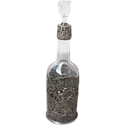 Vintage Silver plated Wine/Sherry Bottle Decanter with English Hallmarks