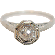 Highly Ornate Antique Old Mine Rose Cut Diamond Ring in 18K White Gold