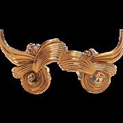 Stunning Vintage Pair of Diamond Swirl Clip On Earrings in 14K Yellow Gold