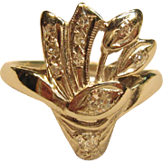 Outstanding Vintage Bouquet Diamond Ring in 14K White Gold
