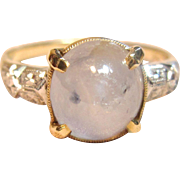 Impressive 5.25ct Natural Star Sapphire Ring in 14K Two Tone Gold