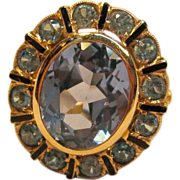 Remarkable Vintage Blue Topaz Ring in 14K Yellow Gold