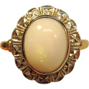 Lovely Natural Opal Ring in 10K Two-Tone Gold
